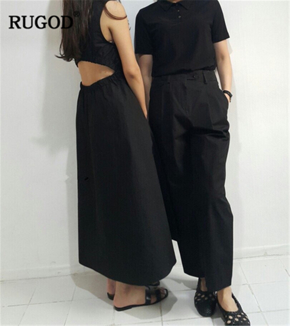 5ad9d0c030bf RUGOD 2019 New Arrival Women Solid Dress O Neck Sleevesless Tunic Hollow  Out Waist Dress Korean