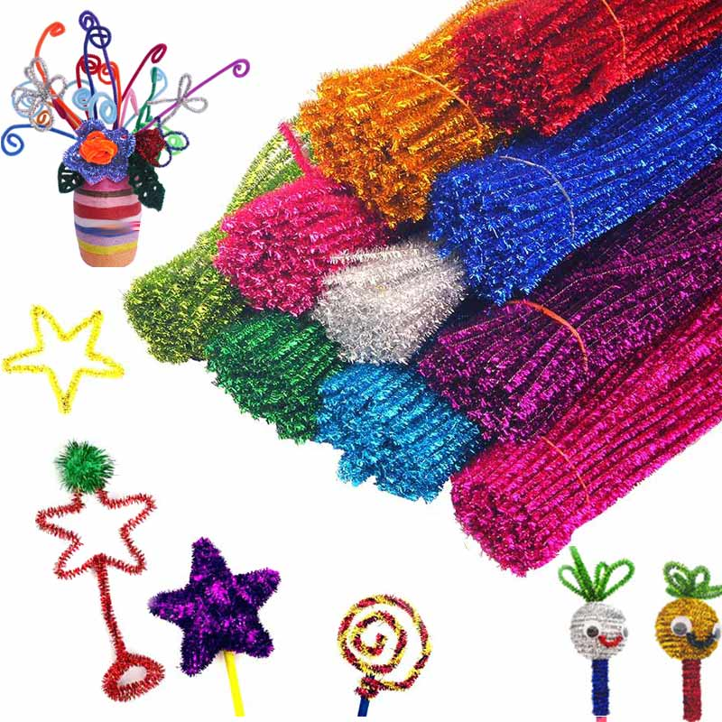 100Pcs Kids Plush Sticks Rainbow Colors DIY Devoloping Handmade Art Craft Toy Random Color