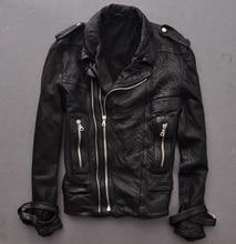 The Original Single Lapel Badges Slim Motorcycle Models Sheep Skin Leather Leather Men's Leather Jacket Folds Men