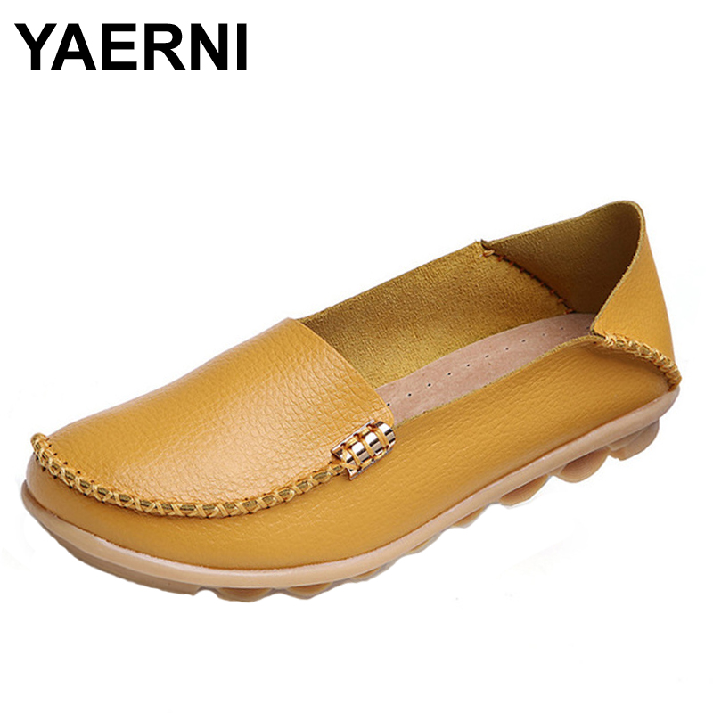 YAERNI Genuine Leather Women Casual Shoes 2017 Fashion Candy Colors Comfortable Slip-on Peas Massage Flat Shoes Plus Size genuine leather women shoes fashion lace up casual flat shoes peas non slip outdoor shoes plus size
