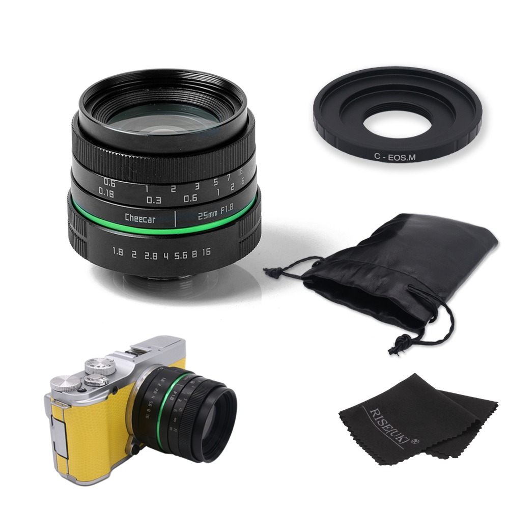 New green circle 25mm CCTV camera lens  For Canon EOS M / M2 / M3 with c-eosm adapter ring + gift +bag free shipping canon eos 70d digital slr camera and canon 24 105mm lens 64gb green s camera package 2