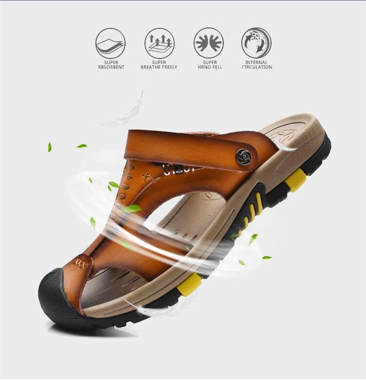 8f61c52db120 2017 Summer Men Sandals Handmade Genuine Leather Slippers Two Way Wear  Breathable Beach Shoes Soft Hard-Fold Sandalias