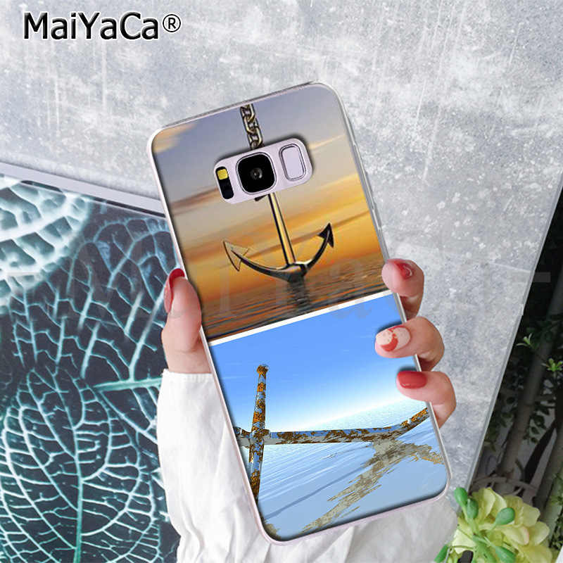 MaiYaCa เรือ anchor blue แนวตั้งขายโทรศัพท์กรณีปกคลุมเต็มรูปแบบสำหรับ Samsung S9 S9 plus S5 S6 S6edge S6plus s7 S7edge S8 S8plus