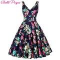 Женщины Большие Качели Dress Лето стиль 2016 Случайные Ретро Vintage 1950 s 60 s Цветочный Печати Платья Плюс Размер Элегантный туника Vestidos