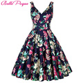 Women Big Swing Dress Summer style 2016 Casual Retro Vintage 1950s 60s Floral Print Dresses Plus Size Elegant Tunic Vestidos