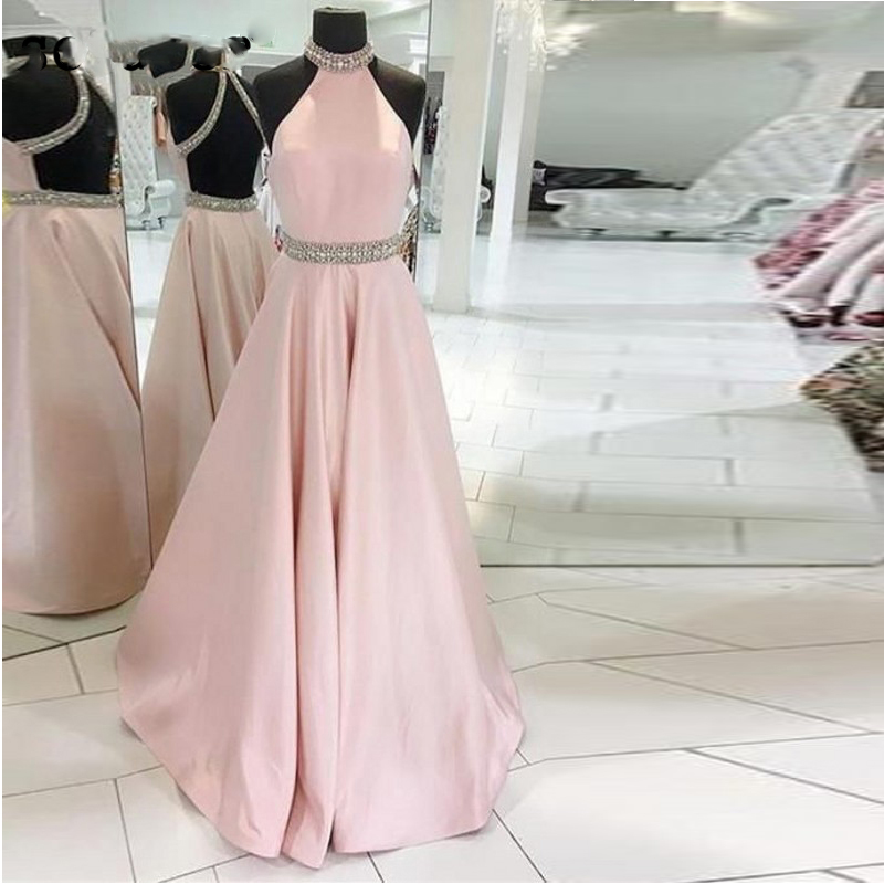 2019New Sleeveless Beaded Crystal Halter Neck Backless Satin Pink Evening Dress vestidos de fiesta Long Graduation Prom Dresses