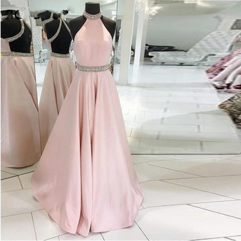2019New Sleeveless Beaded Crystal Halter Neck Backless Satin Pink Evening Dress vestidos de fiesta Long Graduation Prom Dresses