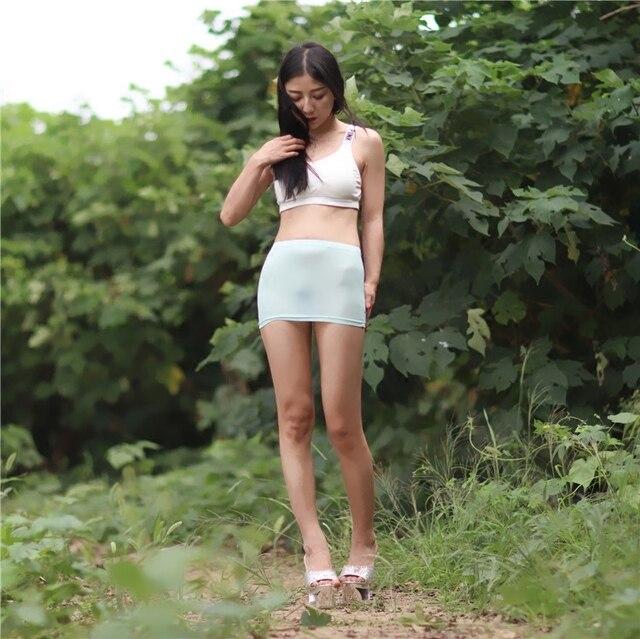 Соблазнительная облегающая мини-юбка Озерного синего цвета, прозрачная мини-юбка для ночного клуба, фэнтези, эротическая одежда FX1012