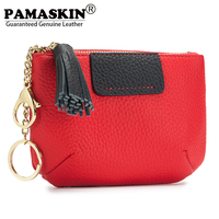 PAMASKIN 2018 New Arrivals Women Coin Purses With Key Chain Premium Genuine Cow Leather Panelled Female