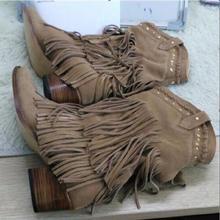 987263e9a5 Böhmen Stil Gladiator Frauen Mid-kalb Niedrigen Ferse Motorrad Stiefel Mit  Fransen Cowboy Stiefel Schuhe