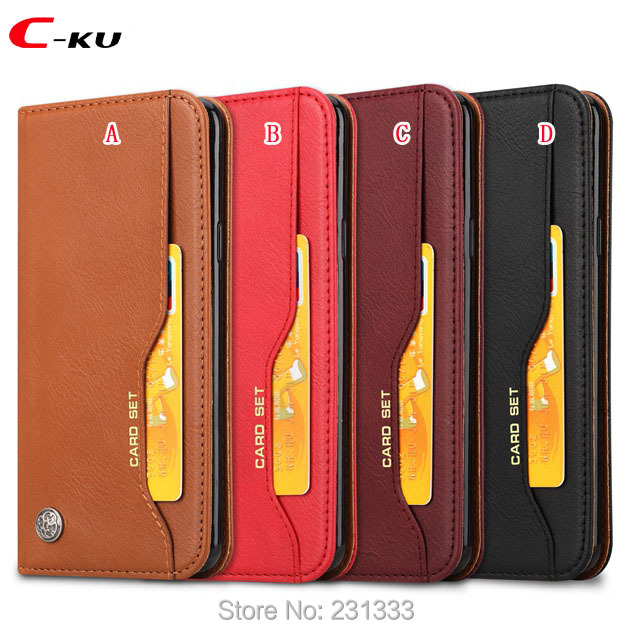 C-ku For Iphone X 8 7 PLUS I7 6 6S IphoneX Retro Wallet Leather Pouch Case Stand TPU ID Card Set Magnetic Money Skin Cover 1pcs