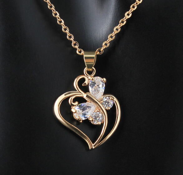 18K Gold Plated Butterfly Heart Shaped Necklace