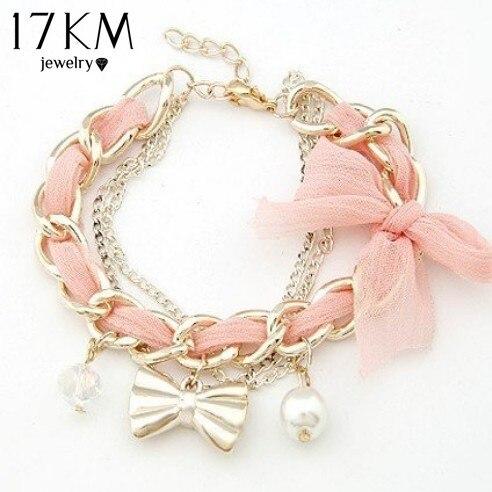 17KM  simulated pearl Bow bracelet Charm Bracelet Jewelry wholesale Jewelry Accessories