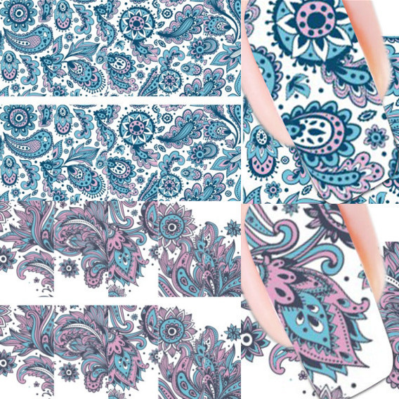 2 Patterns/Sheet Blooming Flower Nail Art Water Decals Transfer Sticker BORN PRETTY BP-W19 #20610