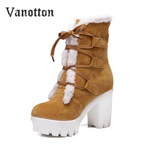 Lace up Snow Boots Women Comfortable Cottom Square High Heel Platform Fashion Warm Winter Riding Shoes