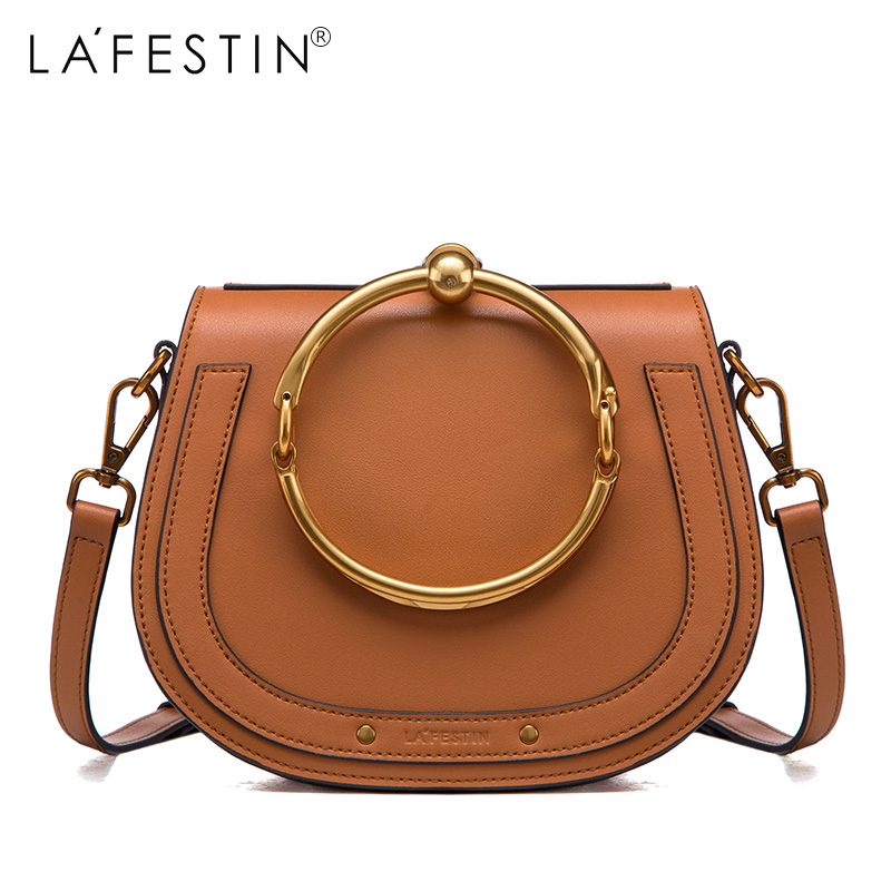 LAFESTIN 2017 Women Shoulder Bag Genuine Leather Saddle Handbag Fashion Women Tassel Crossbody Bag Designer Luxury Brands bolsa lafestin luxury shoulder women handbag genuine leather bag 2017 fashion designer totes bags brands women bag bolsa female