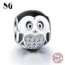 SG pandora charms sterling siver 925 black head penguin beads fit original charm bracelet pendant diy jewelry accessory