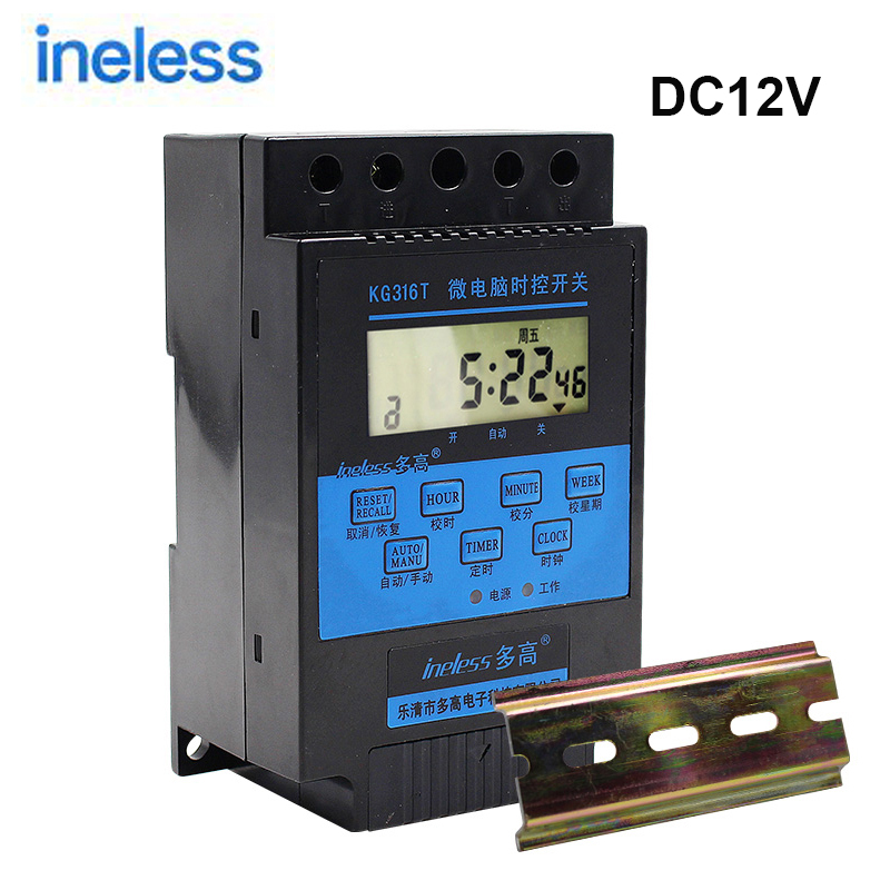 DC Weekly Programmable Timer Switch Relay KG316T DC12V Microcomputer Street <font><b>Light</b></font> Time Switch Advertising <font><b>Light</b></font> Timer Controller