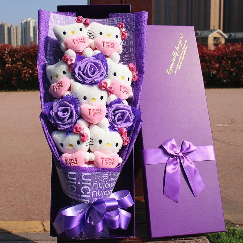 100% hamdmade 3 fleurs de simulation + 7 Hello Kitty peluche animaux en peluche chats jouet dessin animé fleurs bouquet saint valentin cadeau