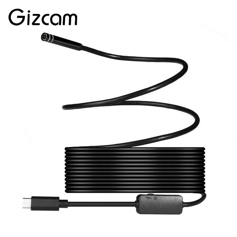 Gizcam 8mm 2MP 8LED 1/3/5/7m USB Type C Professional Waterproof Endoscope Borescope Inspection Tube Video Camera Mini Camcorders
