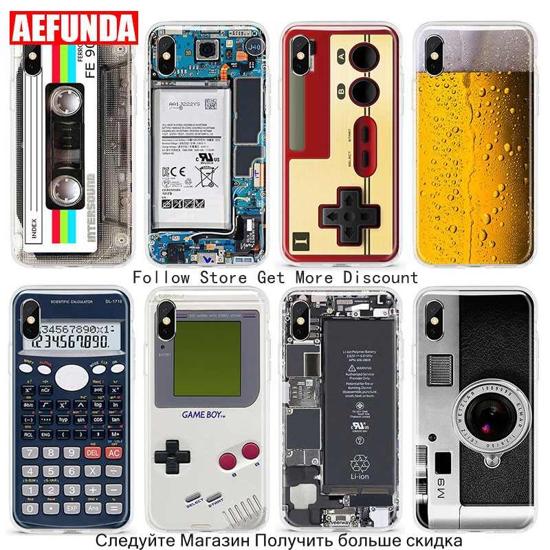 Fashion TPU Silicone Transparent Phone Cases For iPhone 5 5S SE 6 7 6S 7 Plus Creative Camera Game Consoles Magnetic Tape Cover visa