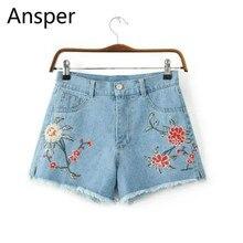 Женский вышивка Короткие джинсы с Высокая Талия 2017 повседневные рваные летние шорты Джинсовая Цветочный корейская модная одежда