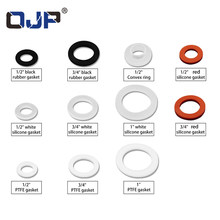 "Wit Zwart 1/2 ""3/4"" 1 ""Rubber Ring Silicon PTFE Platte Pakking Afdichting Ring voor Douchekop Slang pijp Balg Buis Washer Ring(China)"