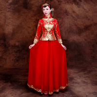 Red Bride Traditions Dress Women Phoenix Embroidery Cheongsam Long Qipao Wedding Dress Traditional Chinese Dresses QLX