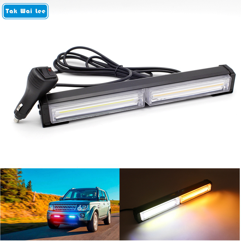 Tak Wai Lee 29CM 40W COB LED Strobe Flash Warning Car Light Bar 14 Modes Styling White Red Blue Yellow Fireman Emergency Lamp free shipping high power 72w car cob warning light car styling external emergency strobe light bar flash white lamp