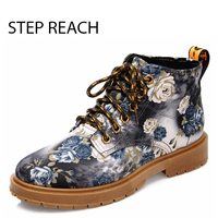 STEPREACH Brand Shoes Woman Women Martin Shoes Flowers Sapato Feminino Zapatos Mujer Lace Up Fashion Casual