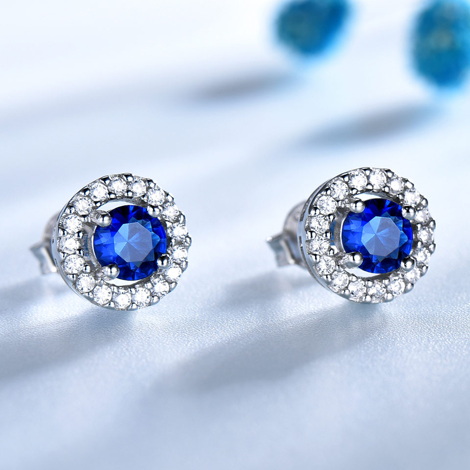 UMCHO Nyata 925 Sterling Perhiasan Perak Putaran Kaya Warna Nano - Perhiasan bagus - Foto 2