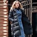 BOSIDENG ropa mujer del invierno abajo largo abajo las mujeres chaqueta gruesa capa caliente outwear con capucha B1601332