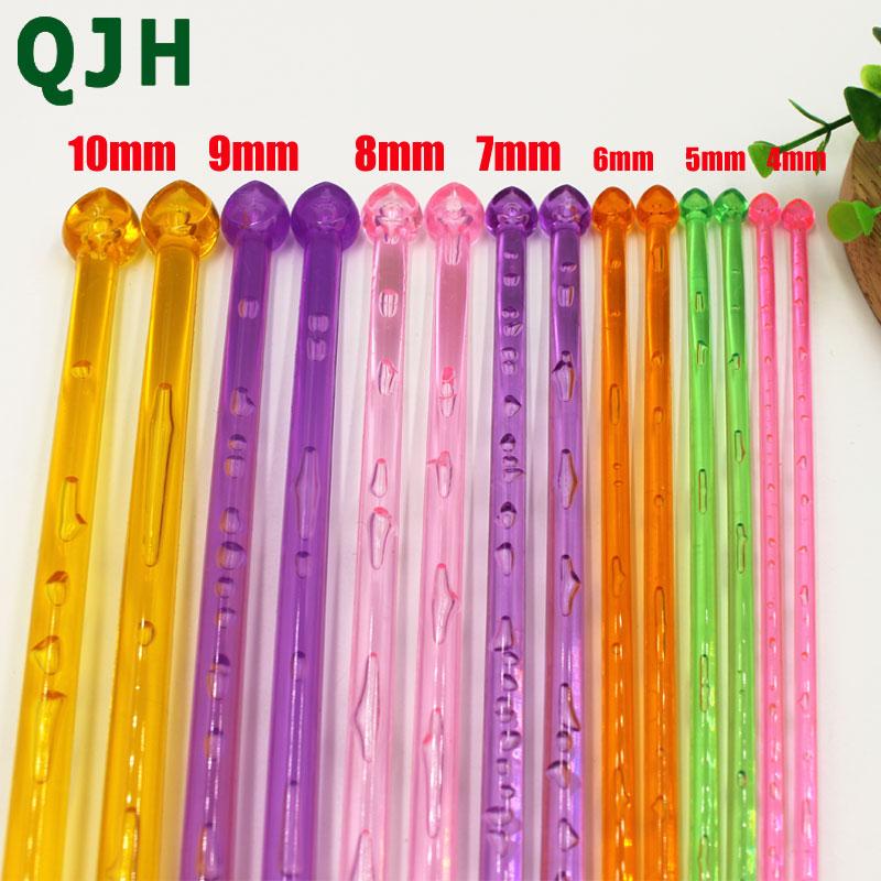 14Pcs//set Sweater DIY MultiColour Crystal Knitting Needles Weaving Tool 4mm-10mm