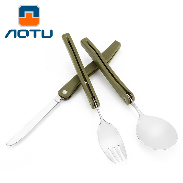 Premium stainless steel Flatware Set new portable tableware folding knife fork spoon, camping picnic utensil travel cutlery set
