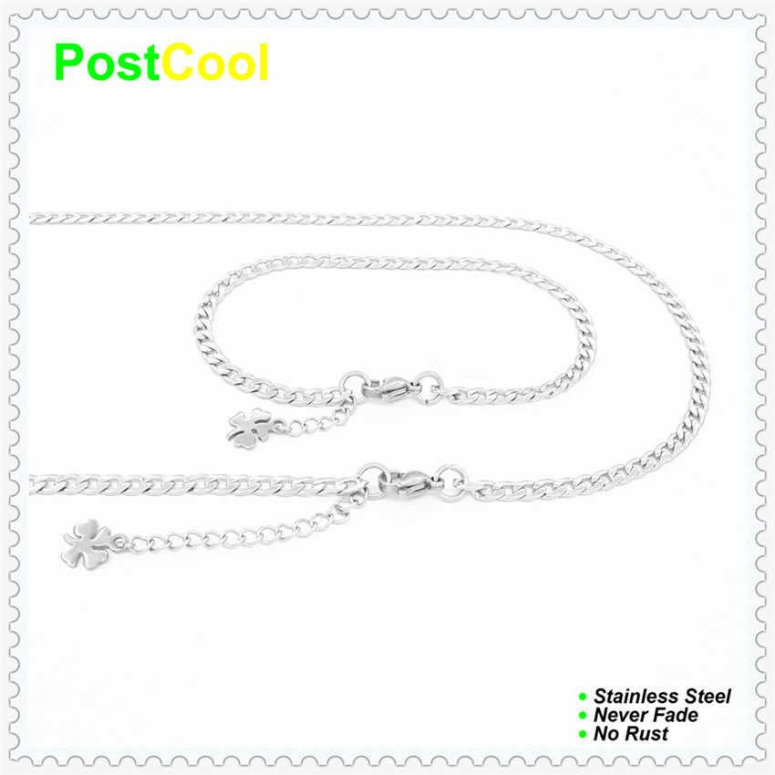 Łańcuch szerokość 4 MM NK1: 1 styl moda biżuteria zestawy 100% ze stali nierdzewnej Necklace40/50/60/70/80/90 cm /Bracelet18/20/22 cm prezent 15 DIY