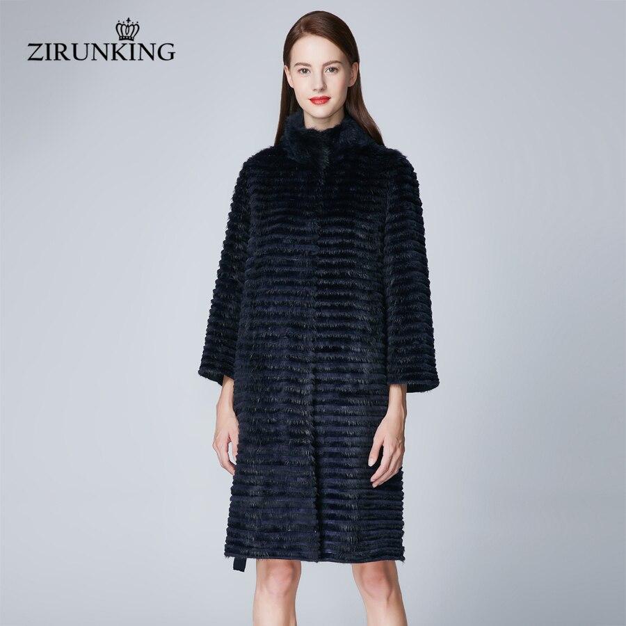 ZIRUNKING Long Style Fashion Women Real Fur Coats Lady Plus Size Muskrat And Rabbit Fur Shuba Outerwear Female Overcoat ZC1849