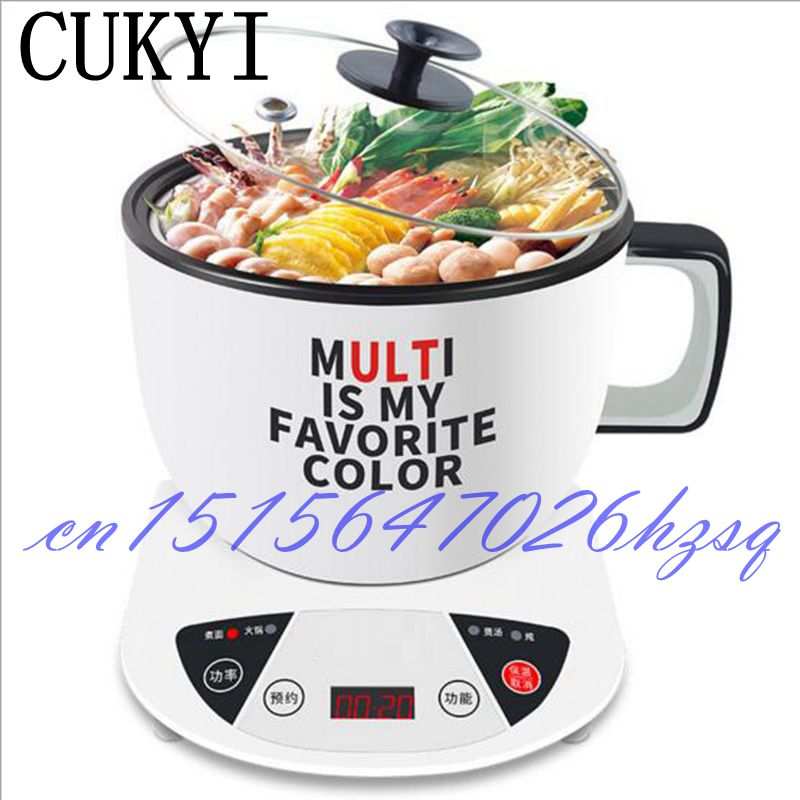 CUKYI Multifunctional 100-600W electric cooker for home dormitory Mini cooking/Stewing/Steaming machine Stainless steel cukyi household electric multi function cooker 220v stainless steel colorful stew cook steam machine 5 in 1