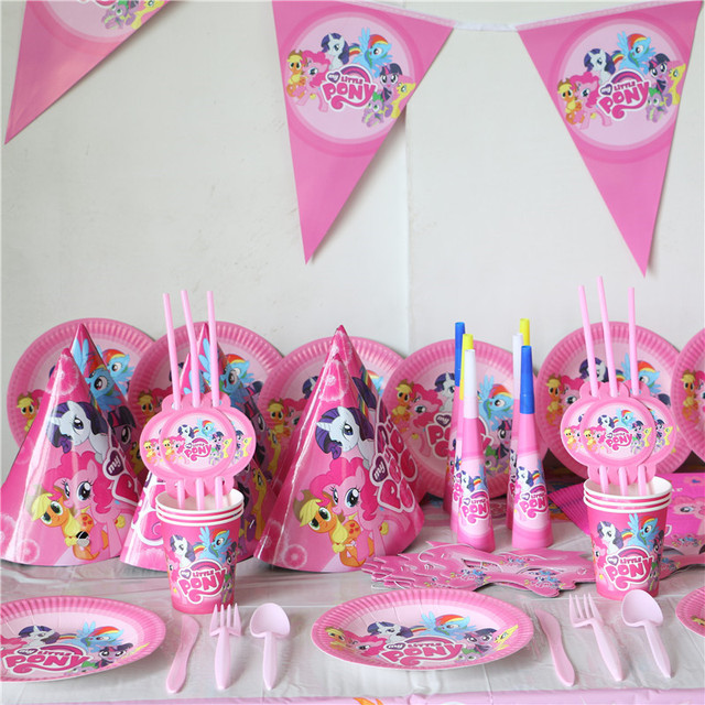 102pcs Kids happy birthday party decoration 8 person Cartoon paper plate cup napkin banner Little pony  sc 1 st  AliExpress.com & 102pcs Kids happy birthday party decoration 8 person Cartoon paper ...