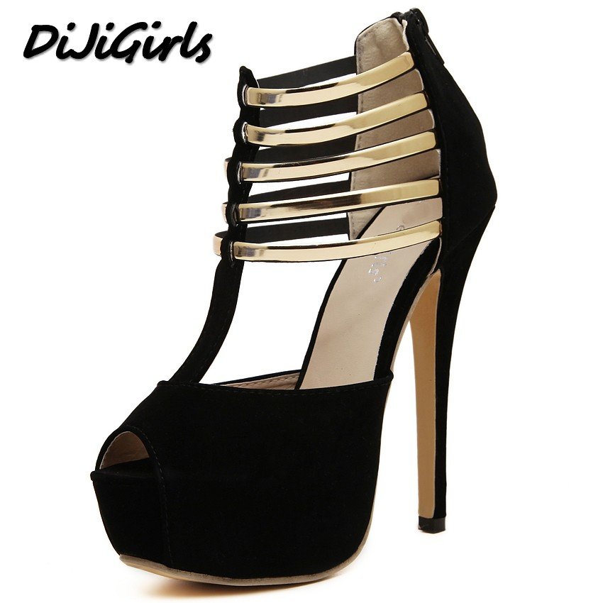DijiGirls New spring summer shoes woman high heels sandals party wedding dress peep toe women pumps platforms gladiator shoes cdts 35 45 46 summer zapatos mujer peep toe sandals 15cm thin high heels flowers crystal platform sexy woman shoes wedding pumps