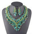 Declaración de Lujo Collar pendientes establecidas Mujeres Partido Nupcial De La Boda joyería Del Rhinestone de Cristal de Color Verde Novias Joyería