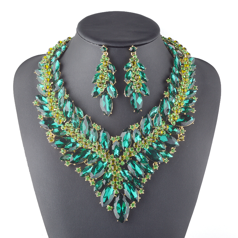 Statement Luxury Necklace earrings set Women Bridal Wedding Party Rhinestone Jewelry sets Green Color Crystal Brides Jewelry