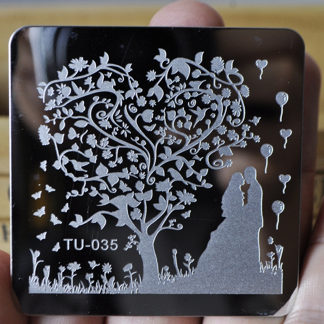 Nail Art Template Outdoor Wedding Party Sweet Bride Groom Nails Sting Plates Love Tree Balloon