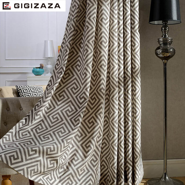 Convolution print poly cotton blend window curtains high quality ...