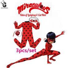 Milagrosa marinette mariquita mariquita niñas trajes de cosplay de halloween niños ropa del mono de las muchachas dress streetwear niño establece(China (Mainland))