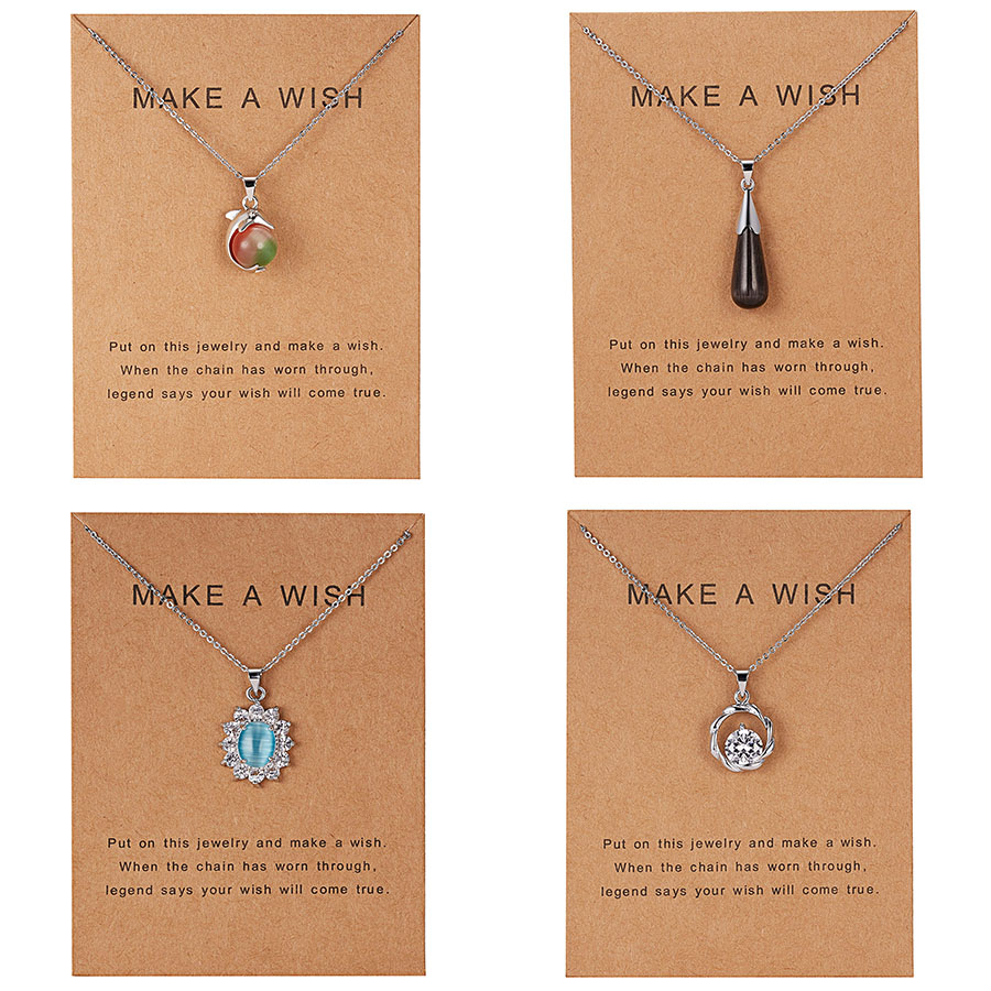 Hot Waterdrop Necklaces Natural Crystal Pendants Stone Flower Dolphin Pendant Chains Necklace For Women Fashion Jewelry
