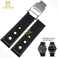 Silicone wristband bracelet wristwatches band Rubber strap watchband waterproof  Double insurance clasp 22mm black belt