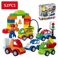 52 шт. мой первый Творческий автомобили различных автомобилей история большой Размеры здания Конструкторы Кирпичи Детские игрушки, совмест...