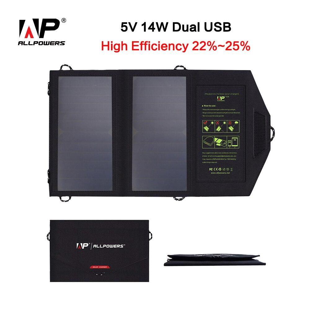 ALLPOWERS 5 V 15 W Portable Pliable Panneau Solaire Chargeur Solaire Téléphone/Tablet/Batterie Chargeur pour Iphone Sumsung HTC BlackBerry IPAD