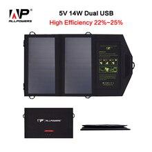 Allpowers переносных 5v16w двойного вывода из складные 5V солнечную панель, зарядное устройство солнечной мобильный телефон, зарядное устройство