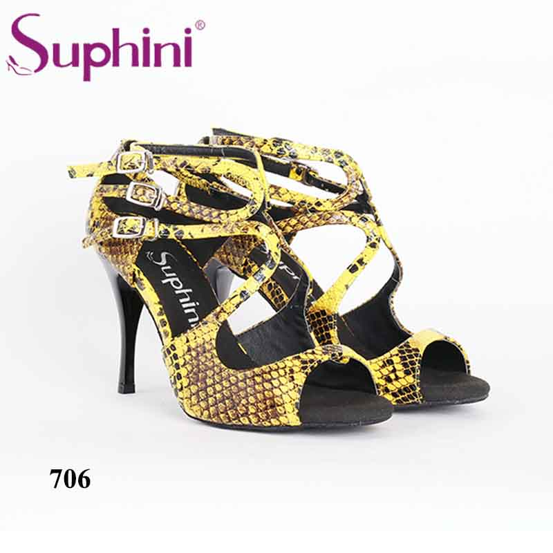 Woman Beautiful Party Dinner Prom Dance Shoes Yellow Snakeskin Print Upper Suphini Tango Dance Shoes tango tt6 32